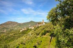 Cinque Terre: View to a village near Levanto in rural landscape, Liguria Italy Stock Image