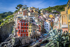 Cinque Terre village with colorful houses on a hillside. Stock Image
