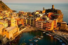 Cinque Terre Village of Vernazza. Hilltown Village of Vernazza of the Cinque Terre Viewed in Late Afternoon Light From Hillside Trail Royalty Free Stock Images