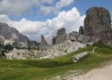 Cinque Torri, alpi delle dolomia, Italia Immagini Stock