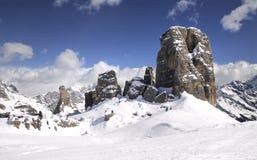 Cinque Torri, Cortina d`Ampezzo, Dolomites Italy. Stock Photo