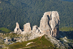Cinque Torri - a landmark of Dolomites Royalty Free Stock Photography