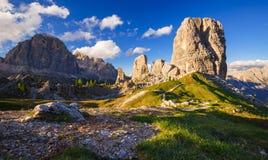 Cinque Torri mountain peak at sunset, Belluno,Dolomites Alps, It Royalty Free Stock Photos