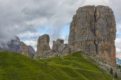 Cinque Torri mountains in a foggy day, Dolomites, Veneto, Italy Stock Photography