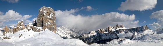 Cinque Torri near Cortina dAmpezzo in Dolomites. Royalty Free Stock Photo