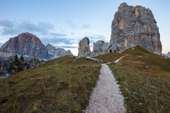 Cinque Torri rock formation under evening sun, Dolomite Alps Royalty Free Stock Images