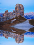 Cinque Torri rock formation under evening sun, Dolomite Alps Royalty Free Stock Photo