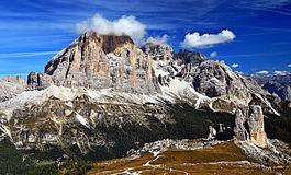 Cinque Torri and Tofana mountain group from Nuvolau peak in Dolomites Royalty Free Stock Image