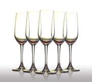 Cinque vetri vuoti. Fotografie Stock