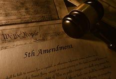 Cinquième amendement à la constitution images stock