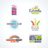Cinquième ensemble de karaoke de basse de reggae de musique du DJ Images stock