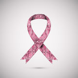 Cinta adornada del cáncer de pecho en fondo rosado abstracto Imagen de archivo