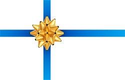 Cinta azul con el arqueamiento de oro Fotos de archivo libres de regalías