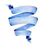 Cinta azul de la acuarela Imagen de archivo libre de regalías