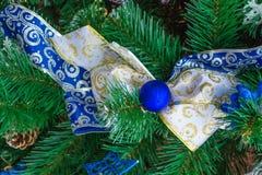 Cinta azul de la Navidad en rama de árbol verde del Año Nuevo Imagenes de archivo