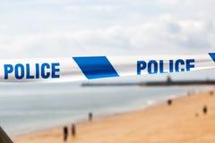 Cinta azul de la policía Imagen de archivo libre de regalías
