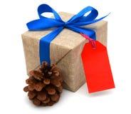 Cinta azul envuelta regalo Foto de archivo libre de regalías