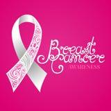 Cinta blanca adornada del vector del cáncer de pecho en fondo rosado Foto de archivo libre de regalías