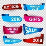 Cinta colorida del papel del rizo con el rollo, ejemplo realista La Feliz Navidad y la Feliz Año Nuevo diseñan la plantilla Fotografía de archivo