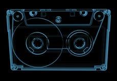 Cinta de casete audio (transparentes azules de la radiografía 3D) Foto de archivo libre de regalías