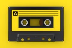 Cinta de casete vieja amarilla de audio del vintage representación 3d imágenes de archivo libres de regalías