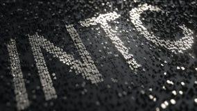 Cinta de cotizaciones bursátiles hecha de los números de plata, de Intel INTC representación editorial 3D stock de ilustración