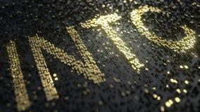 Cinta de cotizaciones bursátiles hecha de números del oro, de Intel INTC representación editorial conceptual 3D ilustración del vector