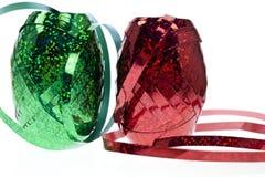Cinta de embalaje verde y roja con el sitio para el texto Foto de archivo