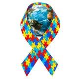 Cinta de la conciencia del autismo con el globo de la tierra, representación 3D libre illustration