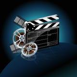 Cinta de la película y chapaleta video del cine Fotografía de archivo