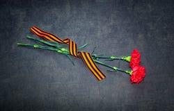 Cinta de los claveles y de San Jorge en un fondo oscuro Foto de archivo