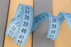 Cinta de medición azul Fotografía de archivo libre de regalías