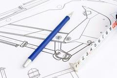 Cinta de medición y pluma azul Imagen de archivo