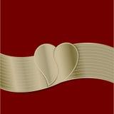 Cinta de oro con la imagen del corazón en t Imagenes de archivo