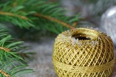 Cinta de oro con nieve Imagen de archivo libre de regalías