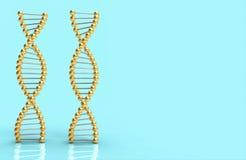 Cinta de oro de la DNA en azul y el espacio para el texto y el diseño ilustración del vector