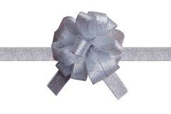 Cinta de plata para el rectángulo de regalo Fotografía de archivo
