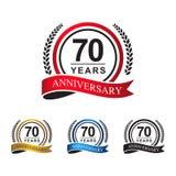 70.a cinta del círculo de los años del aniversario imagen de archivo