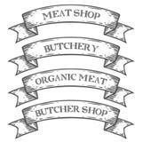 Cinta del emblema de la carnicería del mercado de la tienda de carne Grabado medieval monocromático del vintage del sistema Foto de archivo