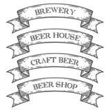Cinta del emblema del mercado de la tienda de la cervecería de la cerveza del arte Vintage medieval monocromático del sistema Imagenes de archivo