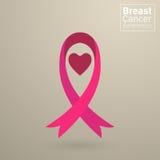 Cinta del rosa de la conciencia del cáncer de pecho del vector Foto de archivo