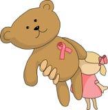 Cinta del rosa de la muchacha del oso Foto de archivo