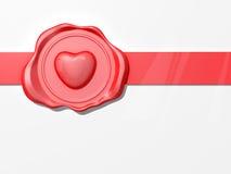 Cinta del sello de la cera de la tarjeta del día de San Valentín Foto de archivo libre de regalías