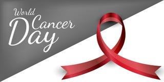 Cinta del vector Día del cáncer del mundo Día de tarjeta del día de San Valentín imagen de archivo libre de regalías