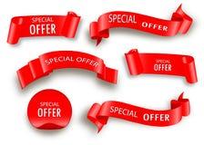 Cinta del vector de la oferta especial Desfile rojo Etiqueta de la venta de la bandera stock de ilustración