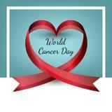 Cinta del vector en la forma del corazón Día del cáncer del mundo Día de la tarjeta del día de San Valentín s stock de ilustración