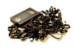 Cinta del VHS desenrollada - por completo Fotografía de archivo libre de regalías