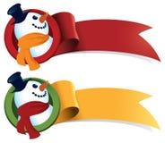 Cinta del Web de la Navidad del muñeco de nieve Fotografía de archivo
