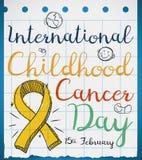 Cinta en estilo del garabato en el papel para el día del cáncer de la niñez, ejemplo del vector Foto de archivo libre de regalías