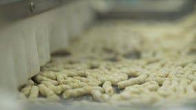 Cinta en una fábrica de las pastas almacen de metraje de vídeo